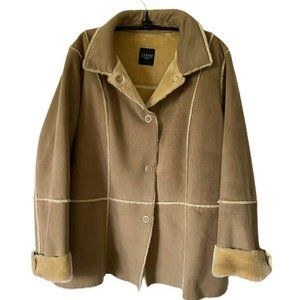 SANYO Womens Jacket Coat Brown Patchwork Buttons